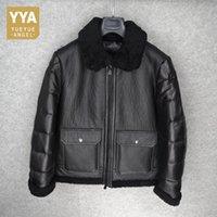 ingrosso cappotti di cuoio di lusso-2018 Inverno caldo e pesante Cappotti invernali Slim Fit Pocket Zipper Capispalla Luxury Genuine Leather Jacket Plus Size 3XL