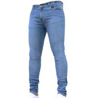 erkek tayt kot toptan satış-HEFLASHOR 2018 Yeni Moda Erkekler Streç Skinny Jeans Rahat Sıkı Katı Pantolon Erkek Marka Temel Pantolon Artı Boyutu 3XL