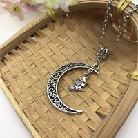 Wholesale witch pendants for sale - Group buy Hot Zinc Alloy Ancient Silver Flying Witch In Moon Charm Pendant cm Cross Chain Necklace Couple Good Luck Jewelry Valentine s Day Present