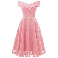 ingrosso vestito sexy femminile-Femminile Abiti Vintage Dress Donna primavera estate sottile sexy elegante scava fuori Solid Pink Party merletto dell'annata A-Line Dress Vestido