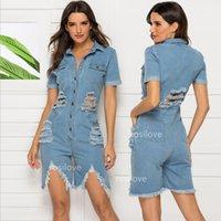 ingrosso taglio della tuta-lavaggio di moda casual jeans strappati donne di estate sottile sexy tuta manica corta Cut-out jeans in denim cowboy tuta con bottoni tasca