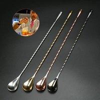 ingrosso cucchiai da bar-Cucchiaino da cocktail in acciaio inox 304 3 colori modello a spirale bar goccia d'acqua mescolare cucchiaio Barista bar strumento