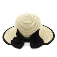 sombrero de ala ancha floral para mujer al por mayor-Las mujeres del verano cubo de protección solar Boonie sombreros del sol con lindo Bowknot ala ancha Ladies Travel Beach Cap femenino Floppy Visor sombrero