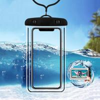 funda suave para iphone al por mayor-Funda impermeable para teléfono móvil para iPhone Xs Max Xr 8 7 Cubierta de bolsa seca de Samsung Clear PVC Sealed Underwater Cell Smart Phone (Al por menor)