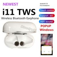 iphone смартфон оптовых-Беспроводные наушники i11 TWS Bluetooth-гарнитура Поддержка всплывающих окон наушников для Samsung Xiaomi Iphone все умные мобильные телефоны