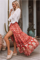 lange rote baumwoll-maxi-röcke großhandel-Gypsy Printed Maxi Rock Frauen Böhmischen Strandurlaub Baumwolle Split Lange Röcke Frauen Rot Blumenmuster Boho Frauen Langen Rock 2019