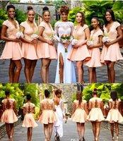 mini vestidos de cocktail para casamentos venda por atacado-Chique Curto País Ocidental Casamentos Do Jardim Da Dama de Honra Vestidos de 2019 Uma Linha Mini Cocktail Dresses Apliques Sem Encosto Vestidos de Baile