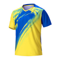 нарисуйте наборы оптовых-Мужчины теннисные рубашки футбол спортивный комплект бег рубашки бадминтон футбол трикотажные изделия с коротким рукавом футболки топы дышащий пользовательские Draw
