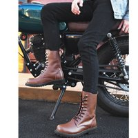 Wholesale leather motorcycle boots for men resale online - Large Size Men Motorcycle Boots Autumn Winter High Top Combat Boots Men Leather For Casual Luxury Boot