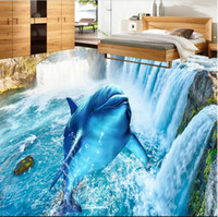 Wholesale chinese wedding stickers for sale - Group buy 3d pvc flooring custom photo Waterproof floor wall sticker Beautiful waterfall dolphin bedroom decor living room wallpaper for walls d