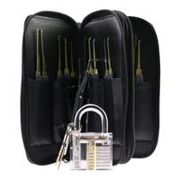ingrosso sacchetto di blocco pick pick-Acciaio inossidabile di alta qualità 24pcs GOSO Lock Picks Lockpick Locksmith Fast Lock Opener con borsa in pelle + Lucchetto trasparente pratica Lock