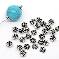колпачки для цветов оптовых-MJARTORIA 300PCs  Cap Ancient Silver Color Flower Shape Bead End Caps Findings For Women Jewelry Making End Caps 6mmx6mm