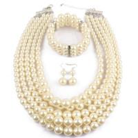 ingrosso set collana indiana di nozze-PPGPGG Nigerian Wedding Indian Jewelry Sets Beads Collana orecchino Bracciale Imposta collare simulato perla gioielli Set