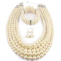 indische perlenschmucksachen großhandel-PPGPGG Nigerianischen Hochzeit Indischen Schmuck Sets Perlen Halskette Ohrring Armband Sets Aussage Kragen Simulierte Perlenschmuck Set