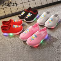 Wholesale led woven fabric resale online - 2019 Autumn New Light Up Shoes Baby s Shoes Lights LED Cute Cartoon Girls Sports Luminous Sneakers Knitted Woven C05181