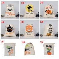 drawstring party taschen kinder großhandel-9styles Halloween Sack Taschen Kindergeschenke Süßigkeit-Beutel der Kürbis-Maskerade-Partei-Handtasche Schädel-Teufel-Spinne Drucken Aufbewahrungstasche FFA2944-1