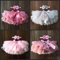 bedeckte stirnbänder groihandel-DHL Baby Mädchentulle-Bloomers neugeboren Tutu Windeln 2ST kurze Röcke und Blumenstirnband-Baby-Party Foto Kleidung bedecken