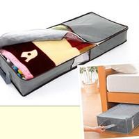 bolsas de almacenamiento de tela zip al por mayor-Ahorro de espacio Cierre con cremallera Ropa Edredón Almohada para el hogar Debajo de la cama Bolsa de almacenamiento Mango de tela Organizador para la alfombra Edredón