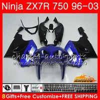 ingrosso kit corporeo zx7r-Corpo per KAWASAKI NINJA ZX-750 ZX-7R blu nero HOT ZX750 ZX 7R 96 97 98 99 28HC.8 ZX 7 R ZX 750 ZX7R 1996 1997 1998 1999 2000 Kit carenatura