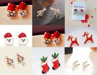 hohe ohr ohrringe großhandel-DHL Frauen Weihnachtsmütze Ohrringe Hochwertige Weihnachtsmann Hutförmige Ohrstecker Mode Weihnachten Ohrschmuck Festival Ohrstecker
