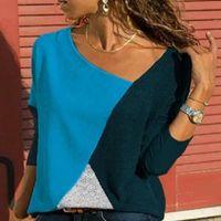 Wholesale clothes womens wholesalers for sale - Womens Long Sleeve T Shirt Fashion Women Panelled T Shirts Plus Size Women T Shirts Ladies Streetwear Clothing LJJV276