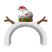 bogendekorationen großhandel-Luftgeblasenes Yard-Dekor-Party-Dekoration beleuchtete Weihnachtsweihnachtsmann-Schneemann-aufblasbarer Bogen-Torbogen