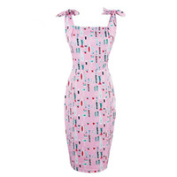 vestido correa de espagueti rosa caliente al por mayor-2019 Hot Summer Women Bodycon Pink Spaghetti Correa Vestido de cuello cuadrado Imprimir Sexy vestido sin mangas de la envoltura femenina vestidos ajustados