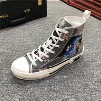 женские верхние ботинки холстины оптовых-Новые Мужчины Женщины цветы технический холст B23 High-top Sneaker B23 HIGH-TOP и SORAYAMA SNEAKER Роскошные дизайнерские туфли Женская обувь с коробкой