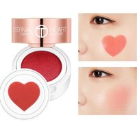 Wholesale rouge make up resale online - O TWO O Air Cushion Blusher Folding Heart Shape Shimmer Blush Rouge Colors Easy To Wear Natural Face Contour Make Up