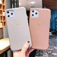 Wholesale max line for sale – best Gold Line Love Heart Case For iPhone Plus Pro XR XS Max Simple Candy Color Phone Cases Soft TPU