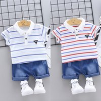полосатые шорты верхний набор оптовых-Casual Baby Boys Clothes Summer Short Sleeve Striped Print Tops T-shirt+Shorts Fashion Kid Clothes Sets