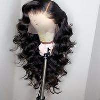 pelucas delanteras del cordón de las ondas sueltas al por mayor-Pelucas brasileñas del pelo humano del frente del cordón de la onda floja para las mujeres negras pre desplumadas con el pelo natural del bebé de la rayita 150% densidad