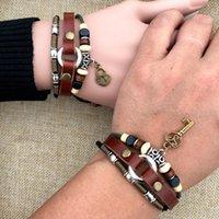 bracelets à clés à clé achat en gros de-bijoux de créateur couple bracelets clés en cuir PU et bracelets pendentif serrure pour couple mode chaud livraison gratuite