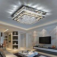 plafón rectangular moderno al por mayor-Lámparas rectangular de cristal de la manera de techo de luz LED Foyer lámpara de techo moderna Dormitorio restaurante iluminación pendiente de la sala