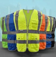Wholesale man work clothing for sale - 6 Colors Safety Clothing Reflective Vest Hollow Grid Vest High Visibility Warning Safety Working Construction Traffic Vest CCA10954