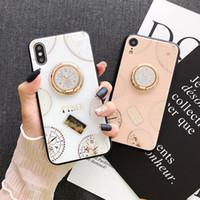 saat kolu toptan satış-IPhone 6 7 8 Artı cep telefonu kabuk kadın XR silikon kol XS Max braket İçin Yeni saat kadranı cam elmas taklidi