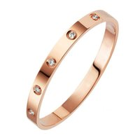 Wholesale copper gold chain for men resale online - Fashion Couple Love Jewelry Crystal Cuff Bracelet for Women Men Gold Color Stainless Steel Bracelets Bangles Bijoux Best Gift