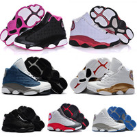 Wholesale baby tennis shoes online - Designer s kids shoes basketball sneakers XIII Black cat Pink Chichago bred White Breathable Youth Children s boy girls baby size