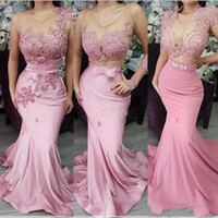 Wholesale nude prom dresses straps resale online - 2019 Three Types Mermaid Evening Dresses Sheer Neck Lace Appliqes Beaded Sashes Backless Sweep Train Formal Party Dress Celebrity Prom Gowns