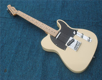 Wholesale black guitar customize resale online - Factory Custom Milk Yellow Color String thru body Electric Guitar with Pickups Black Binding Maple Fretboard Offer Customize
