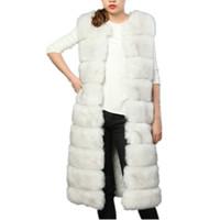 chalecos peludos al por mayor-Lisa Colly 100 cm Mujeres grueso Chaleco de piel sintética Abrigo de Chaleco de Piel Súper Largo Invierno de Lujo Faux Fox Furry Mujer Fake