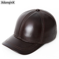 Wholesale leather baseball caps for sale - Group buy XdanqinX Adjustable Size Men s Genuine Leather Hats Winter Warm Natural Cowhide Baseball Caps New Middle aged Brands Tongue Cap