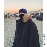almohadillas para jóvenes al por mayor-Invierno 2019 nuevo color sólido delgado espesa y chaqueta acolchada personalidad juvenil desgaste lanoso encapuchada floja ocasional de la manera de los hombres