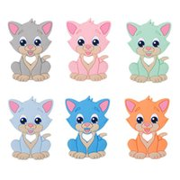 kitty katze perlen großhandel-Neue Silikon-Katzen-Beißring-bunte Baby-Kinderkrankheiten-Spielzeug-Nahrungsmittelgrad-Silikon-Miezekatze-sichere Kauen-Korne-Säuglingsduschen-Geschenke 7 Farben