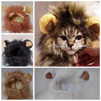 aslan yelesi kılık toptan satış-Pet Kedi Köpek Saç kap Peruk Emülasyon Aslan Saç Mane Kulaklar Baş şapka Sonbahar Kış Giydirme Kostüm Susturucu Eşarp Pet LJJA3312-4 Malzemeleri