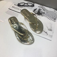 Wholesale women tongs for sale - Group buy Summer Non slip flip flops woman outdoor beach flat slippers sandals feminino gold sliver leather clip toe tong slides shoes