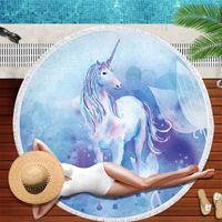 Cartoon Unicorn Beach Towel Camping Bath Gym Travel Sports Swimming JD