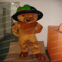 kahverengi takım elbise toptan satış-Kahverengi Teddy Bear Maskot Kostüm Anime Tema Karnaval Cadılar Bayramı Karikatür Siyah Şapka Ayı Hayvan Kostüm Karakter Noel Partisi Suit