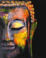 Wholesale abstract art oil painting buddha resale online - ZYXIAO Buddha head religion Wall Oil Painting Art picture print on canvas No Frame for bedroom living home mosaic decor gift YH0357