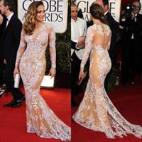 Wholesale zuhair white long dress resale online - Elegant Oscar Sexy Evening Dresses Jennifer Lopez in Zuhair Murad Lace Bateau Sheer Mermaid celebrity Prom Dresses with Long Sleeve